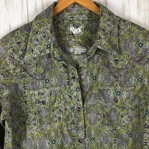 Wrangler Rock 47 Western Snap Button Down Shirt